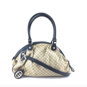 Diamante Two Satchel Brown Canvas Shoulder Bag